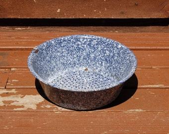 Enamelware Berry Collander, Vintage Blue Speckled Enamel Strainer