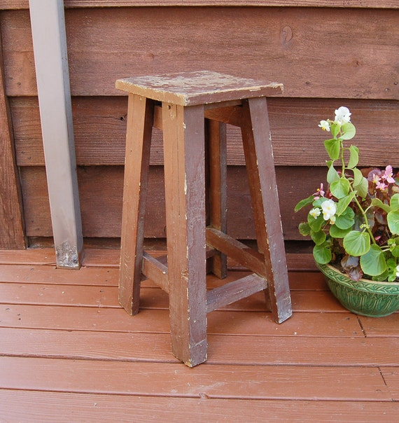 Wooden plant stand vintage table