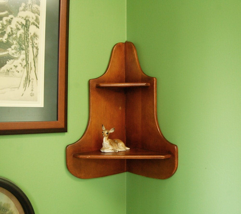 Vintage Wooden Corner Shelf Wood Corner Shelf