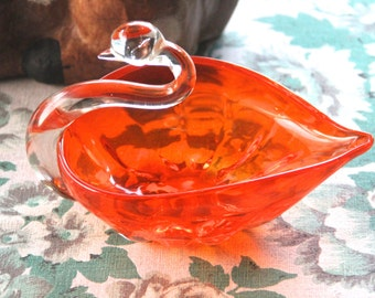 Vintage Art glass Hand-made-SwanDish-Murano-Mid-Century-Kitsch