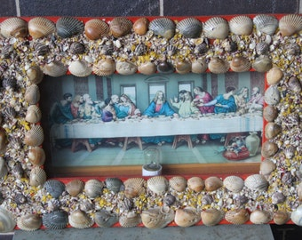 Vintage 1950's Seashell Shadow Box FOLK ART Rare shell art sailor's valentine