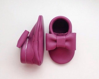 Berry Leather Baby Moccasins