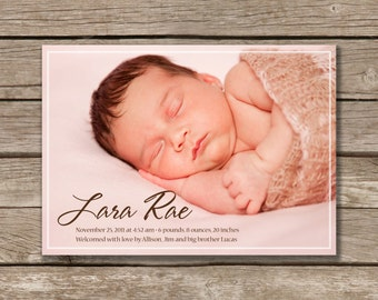 Simply Beautiful Baby Announcement, Printable, Gender Neutral, Digital File, Photo Card, Made to Order