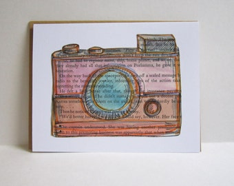 Vintage Camera Book Page Illustration Card, Painted Camera Collage Card