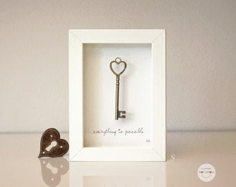 Gift best friend - Gift Love Wedding - Gift sister - Gift new job - gift graduation - Picture key antique bronze - framed under glass