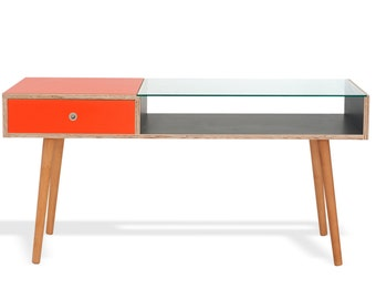 T90 Coffee Table - Double sided drawers in wood and laminate: retro, mid century, side table