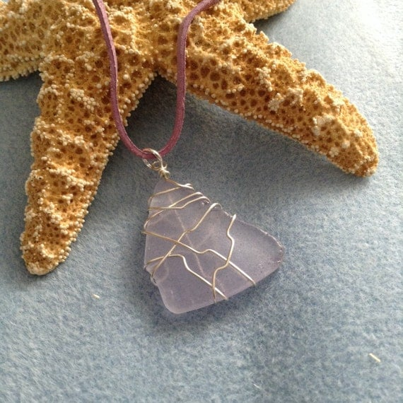 Lavender Wire Wrapped Sea Glass (Recycled) on Lavender Suede Cord TG617176