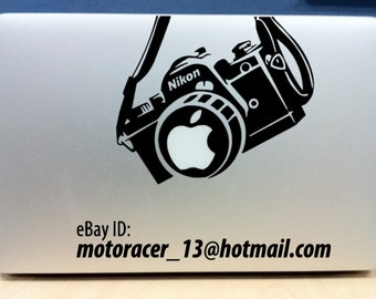 Nikon camera Apple sticker - (BLACK) high quality vinyl - for Macbook / Pro / Air 11in 13in & 15in