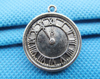 Vintage Antique Silver/Antique Bronze Rould Clock Time Pendant Charm/Finding,with Alphanumeric Indicator,DIY Accessoy Jewellry Making