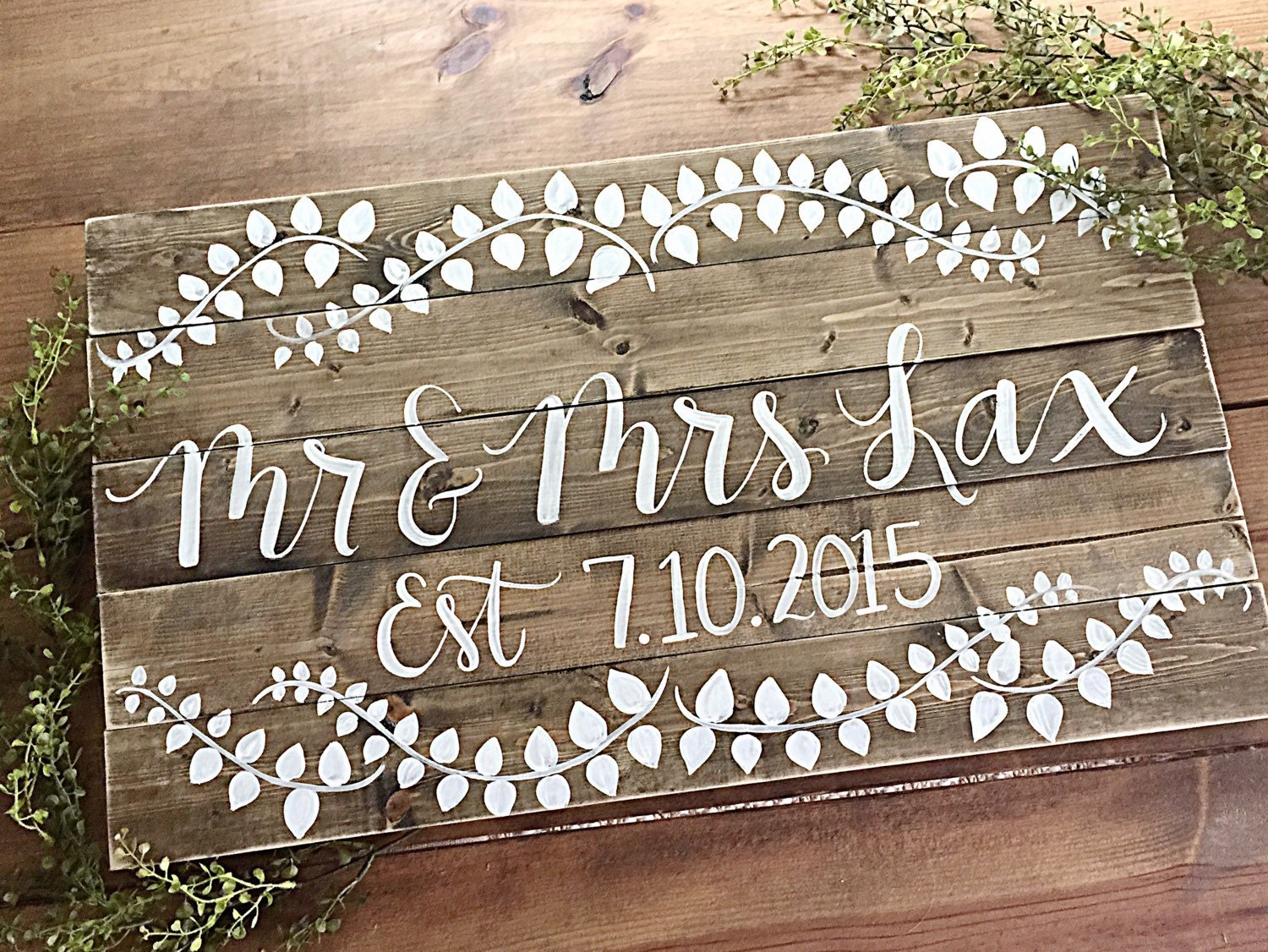 Last Name Sign Wedding Home Decor Wedding Date