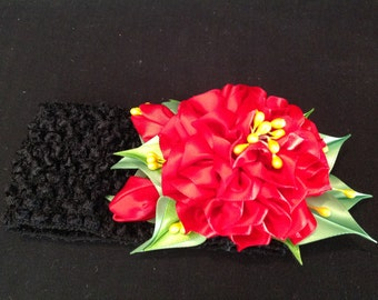 Kanzashi Flower Headband, Ribbon Flower Headband, Red Flower Headband, Girls Flower Headband