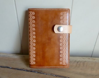 Leather Journal | Hand Tooled Leather Notebook | Antique Tan | Refillable | Handmade in Australia