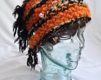 Crazy San Francisco Giants Hat - Orange and Black Hand Knit Hat with Baseball Beads - Free Shipping