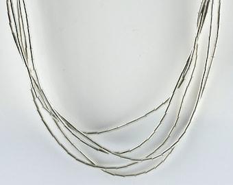 Vintage Sterling Silver Interesting, Tubes   Necklace 6.9g U5967