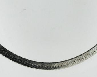Vintage Sterling Silver Rectangles, Unique Herringbone  Necklace 9.2g U6027