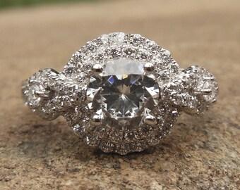 Engagement Ring / Semi Mount Ring / 14K White Gold Ring / Fashion Ring