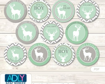 Boy Buck Cupcake Toppers for Baby Shower Printable DIY, favor tags, circles, It's a Boy, Chevron- aa80bs0