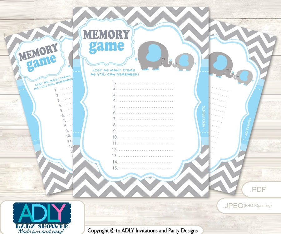 grey blue elephant memory game for baby shower printable card