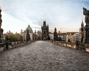 Prague Charles Bridge at Sunrise Photograph, Czech Republic, Baroque Statues, Cobblestones, River Vitava - Charles at Sunrise
