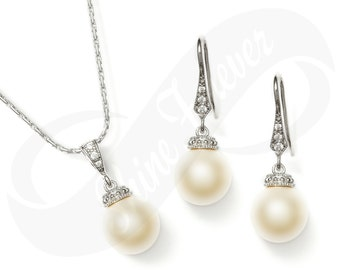 Bridesmaid Jewelry Pearl Wedding Set Swarovski Pearl Cubic Zirconia Earrings Bridesmaid Gift Set Cream Pearl Jewelry Earrings Necklace Set