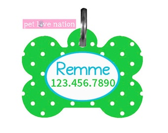 Personalized Pet Tag, Dog Tag, ID Tag, Green Polka Dot Pet Tag With Name And Phone Number