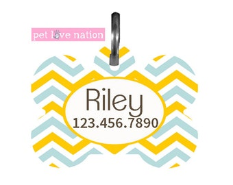 Personalized Pet Tag, Dog Tag, ID Tag, Blue And Yellow Chevron Pet Tag With Name And Phone Number