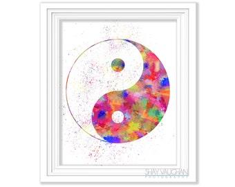 Yin Yang Art Print Painting Poster Watercolor Illustration Yoga Poster Home Decor Wall Art Wall Decor Meditation Glicee Art Gift (No.234)