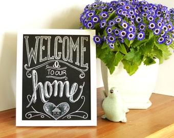 Chalkboard Welcome Print - Chalkboard Art - Welcome Sign - Welcome to our Home - Print - Chalk Art