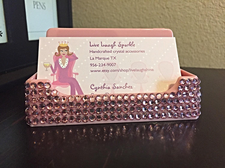 Pink bling business card holder bling desk by livelaughshine for Bling business card holder