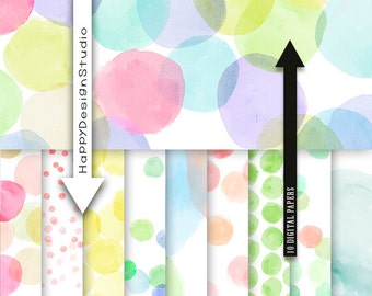 dot digital paper rainbow colors pastel baby shower polka dot dots set papers random scrapbbok confetti happy birthday party dotted backdrop