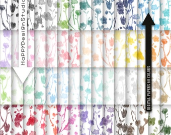 60 colors floral digital paper flowers pattern wedding lovely beauty watercolor Mother's Day thanksgiving print papers pastel colors