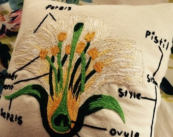 Hand-Embroidered Flower Cross Section and Diagram Pillow