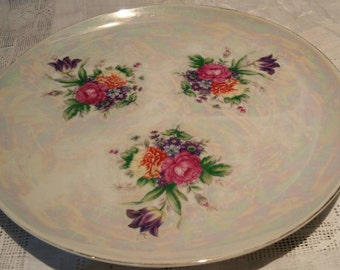 Vintage Floral Plate With Mother Of Pearl Effect