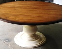 "60"" Round Wormy Maple Wood Dining Table"