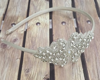 Rhinestone headband, ivory headband, flower girl headband, wedding headband, dressy headband, formal headband, halo, baby headband,