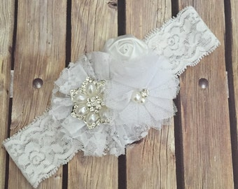 Lace floral headband, lace headband, vintage headband, white headband, white lace headband, flower girl