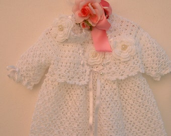Dress, sweater and headband for baby christening handmade crocheted white cotton. Made to order