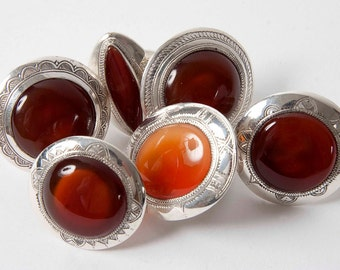 Circular silver agate statement ring