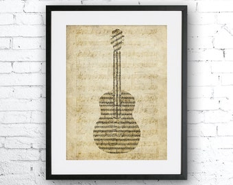 Old sheet music guitar, Old paper print, Guitar, Music home decor, Gift for musician. Music art, Vintage paper guitar, guitar poster,