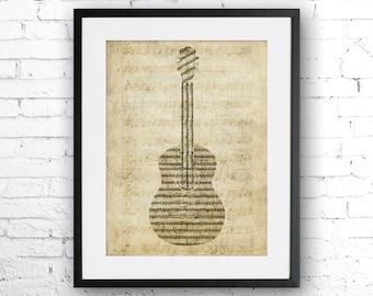 Old sheet music guitar, Old paper print, Guitar, Music home decor, Gift for musician. Music art, Vintage paper guitar, guitar poster,