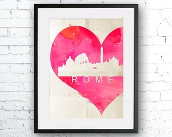 Rome Watercolor Painting, Art Print, skyline poster, Rome poster, Rome Watercolor, Italy art, Italy Watercolor, heart art, Rome Illustration