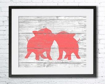 Pigs Love art illustration print, Pig painting,Pig art ,Rustic Wood art, Animal print, Home Decor, Animal silhouette, Kitchen decor,