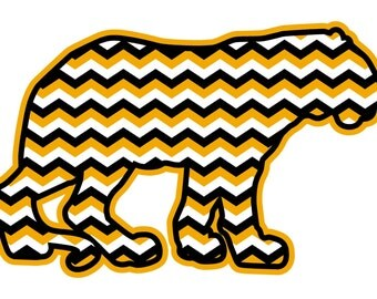Chevron Tiger Car Decal (Mizzou Colors)