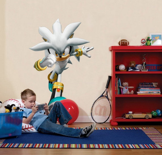Silver sonic the hedgehog decal removable wall by printadream - Sonic wall decals ...