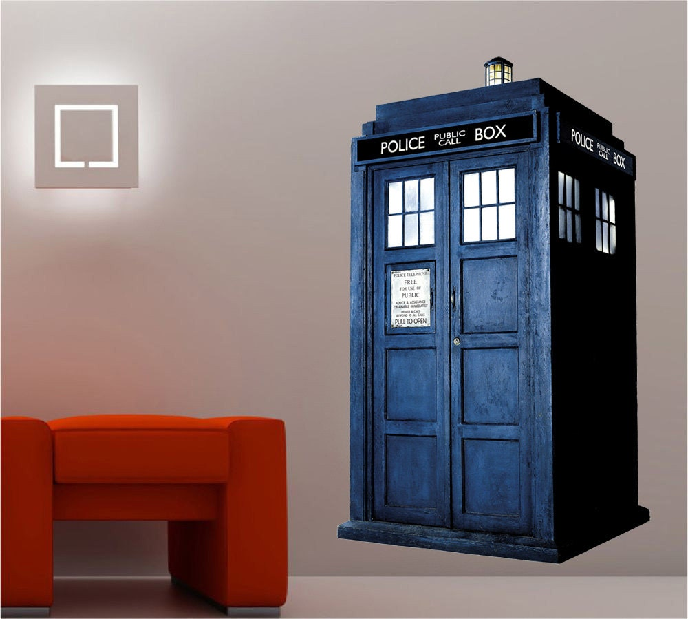 dr who tardis phone booth decal wall sticker by printadream. Black Bedroom Furniture Sets. Home Design Ideas