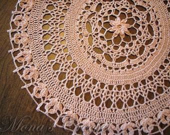 Hand Crocheted Peach Blossom Doily for Home Decor   Centerpiece   Peach Doily   House Warming Gift