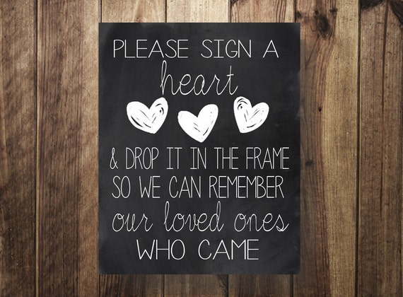 Please Sign A Heart Wedding Guest Book Sign Our Guestbook
