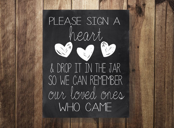 Please Sign A Heart Drop In Jar Wedding Guest Book Sign Our