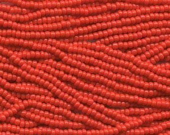 11/0 Czech Light Red Seed Beads 6 Strings Aprox 19 grams