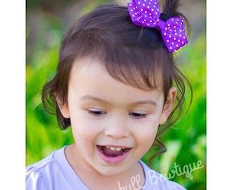 """Purple Dots Hair Clip- 3"""" Grosgrain Bow Hair Clips Purple with White Dots or White with Purple Dots"""